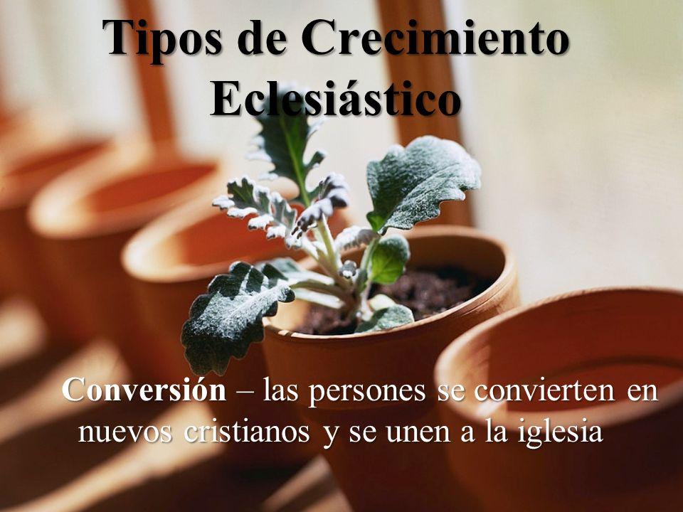Tipos de Crecimiento Eclesiástico Conversión – las persones se convierten en nuevos cristianos y se unen a la iglesia Conversión – las persones se convierten en nuevos cristianos y se unen a la iglesia