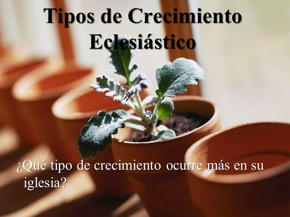 Tipos de Crecimiento Eclesiástico ¿Qué tipo de crecimiento ocurre más en su iglesia.