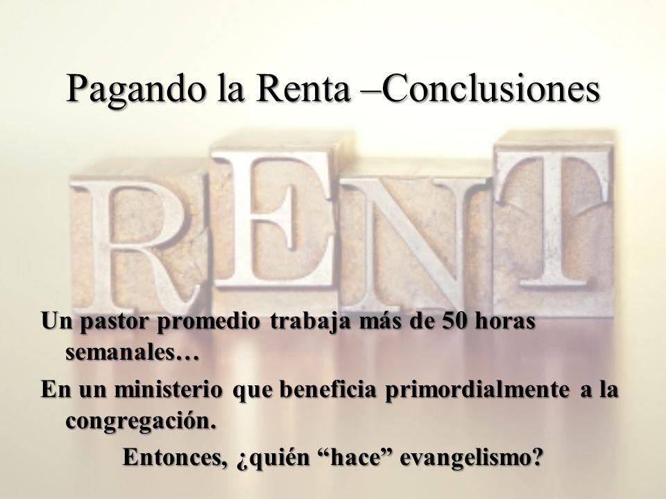 Pagando la Renta –Conclusiones Un pastor promedio trabaja más de 50 horas semanales… En un ministerio que beneficia primordialmente a la congregación.