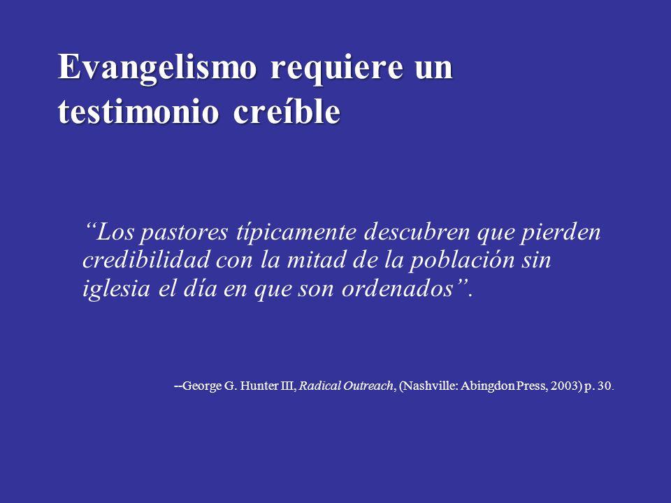 Evangelismo requiere un testimonio creíble Los pastores típicamente descubren que pierden credibilidad con la mitad de la población sin iglesia el día en que son ordenados.
