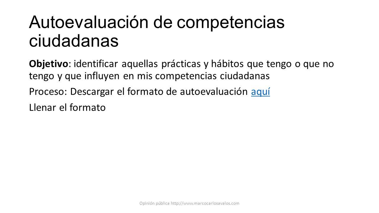Autoevaluación de competencias ciudadanas Objetivo: identificar aquellas prácticas y hábitos que tengo o que no tengo y que influyen en mis competenci