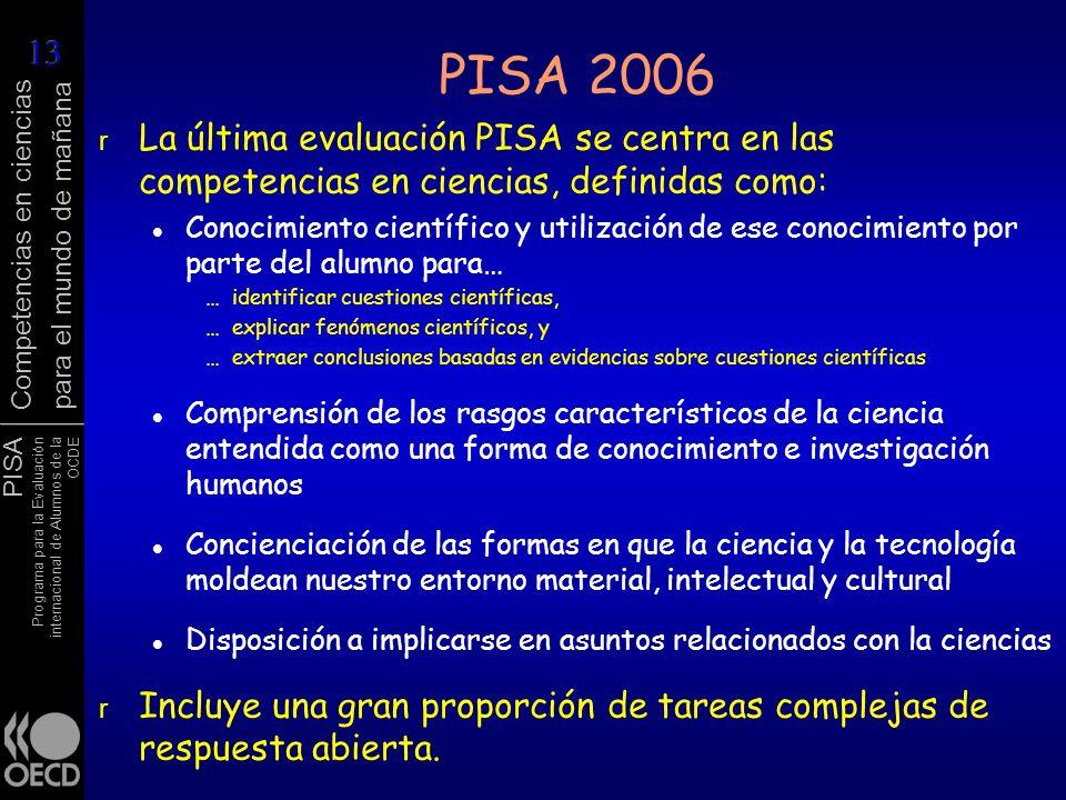 PISA Programa para la Evaluación internacional de Alumnos de la OCDE Competencias en ciencias para el mundo de mañana PISA 2006 r La última evaluación