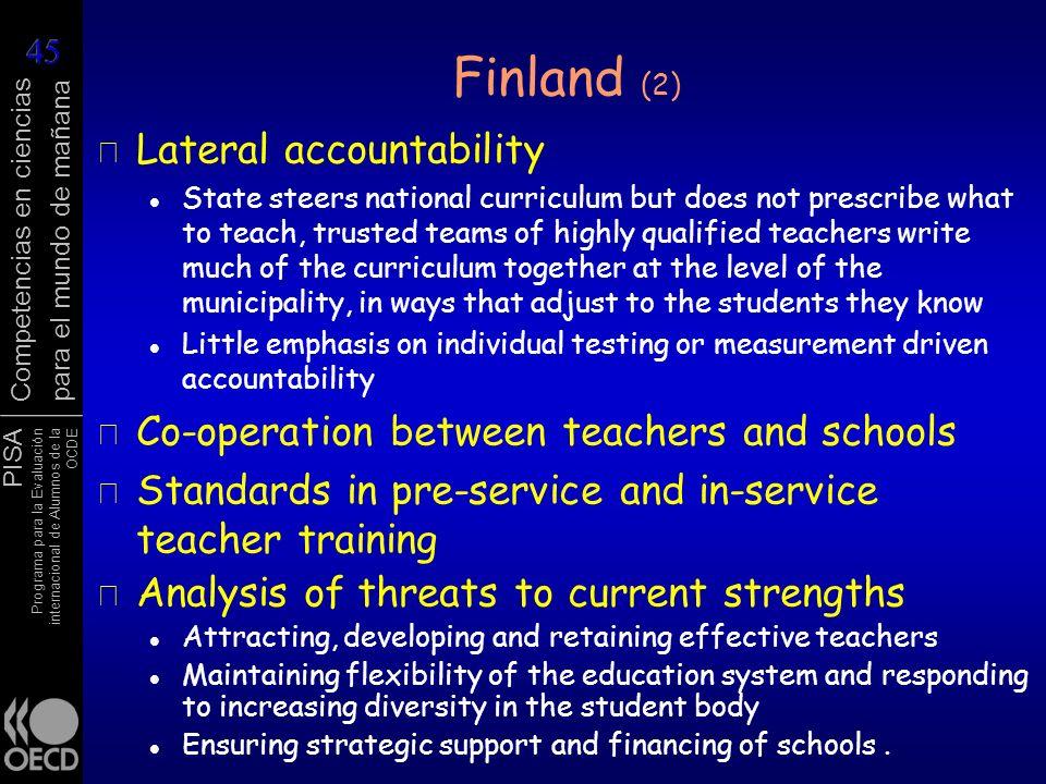 PISA Programa para la Evaluación internacional de Alumnos de la OCDE Competencias en ciencias para el mundo de mañana r Lateral accountability State s