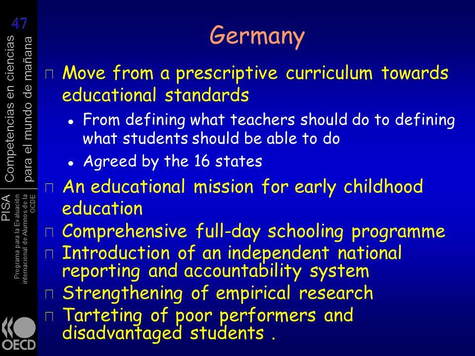 PISA Programa para la Evaluación internacional de Alumnos de la OCDE Competencias en ciencias para el mundo de mañana Germany r Move from a prescripti