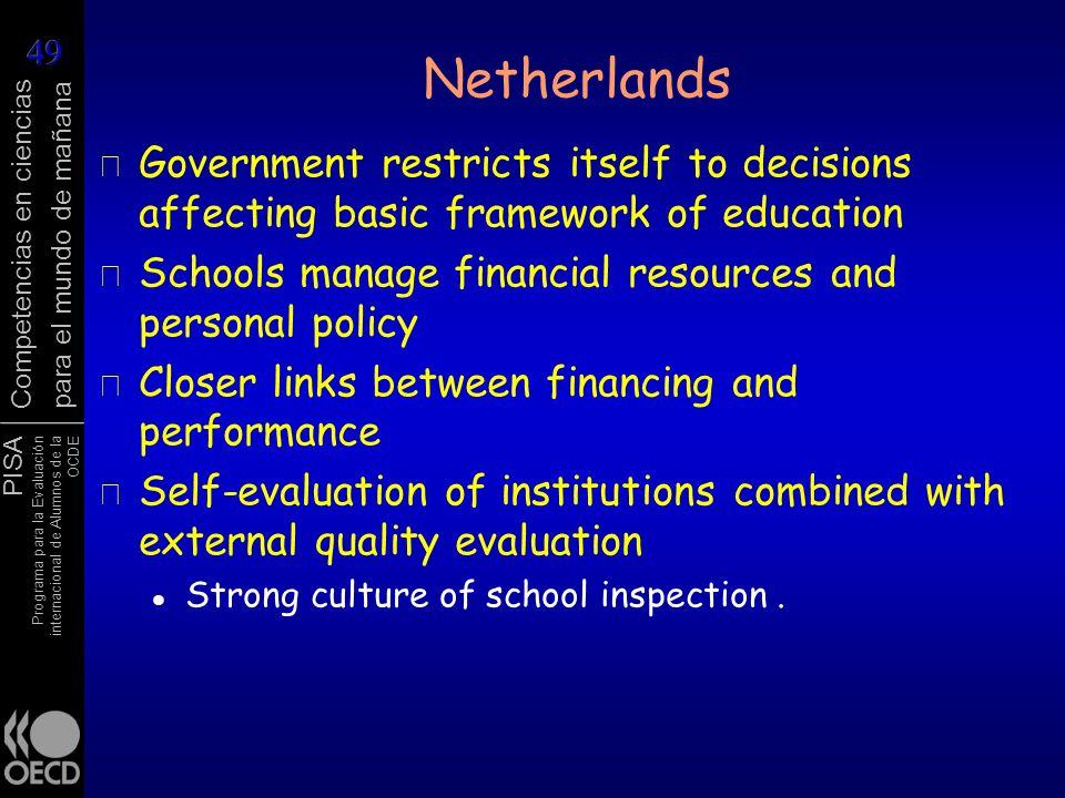 PISA Programa para la Evaluación internacional de Alumnos de la OCDE Competencias en ciencias para el mundo de mañana Netherlands r Government restric