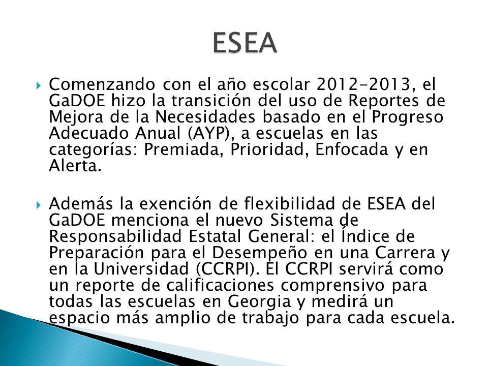 Comenzando con el año escolar 2012-2013, el GaDOE hizo la transición del uso de Reportes de Mejora de la Necesidades basado en el Progreso Adecuado Anual (AYP), a escuelas en las categorías: Premiada, Prioridad, Enfocada y en Alerta.