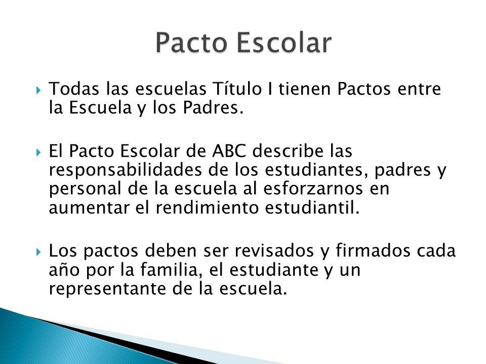 Todas las escuelas Título I tienen Pactos entre la Escuela y los Padres. El Pacto Escolar de ABC describe las responsabilidades de los estudiantes, pa