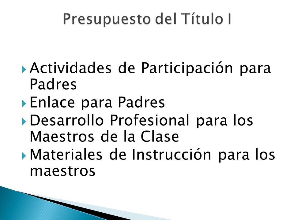 Actividades de Participación para Padres Enlace para Padres Desarrollo Profesional para los Maestros de la Clase Materiales de Instrucción para los ma