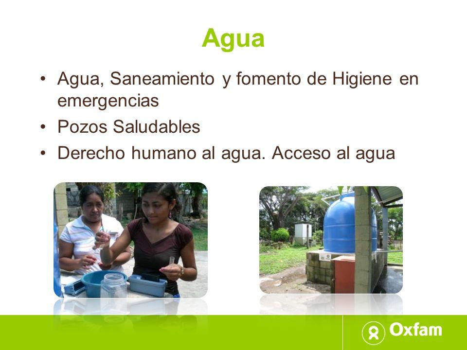 Agua Agua, Saneamiento y fomento de Higiene en emergencias Pozos Saludables Derecho humano al agua. Acceso al agua