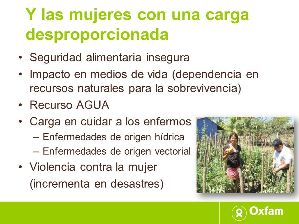 Y las mujeres con una carga desproporcionada Seguridad alimentaria insegura Impacto en medios de vida (dependencia en recursos naturales para la sobre