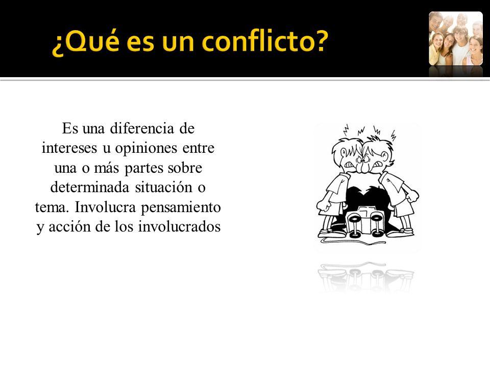 Es una diferencia de intereses u opiniones entre una o más partes sobre determinada situación o tema. Involucra pensamiento y acción de los involucrad