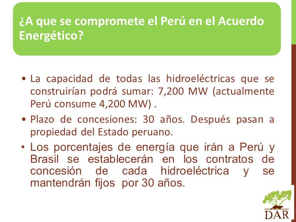 ¿A que se compromete el Perú en el Acuerdo Energético? La capacidad de todas las hidroeléctricas que se construirían podrá sumar: 7,200 MW (actualment