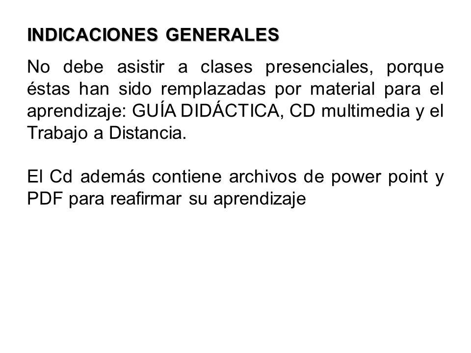 No debe asistir a clases presenciales, porque éstas han sido remplazadas por material para el aprendizaje: GUÍA DIDÁCTICA, CD multimedia y el Trabajo
