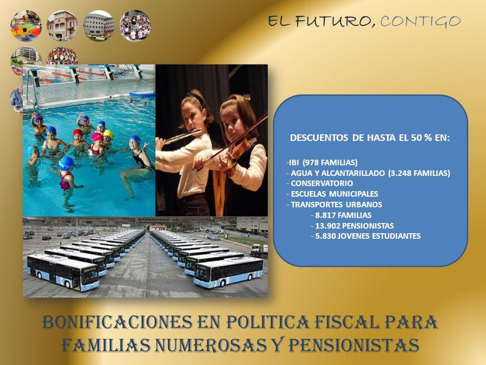 BONIFICACIONES EN POLITICA FISCAL PARA FAMILIAS NUMEROSAS Y PENSIONISTAS DESCUENTOS DE HASTA EL 50 % EN: -IBI (978 FAMILIAS) - AGUA Y ALCANTARILLADO (3.248 FAMILIAS) - CONSERVATORIO - ESCUELAS MUNICIPALES - TRANSPORTES URBANOS - 8.817 FAMILIAS - 13.902 PENSIONISTAS - 5.830 JOVENES ESTUDIANTES