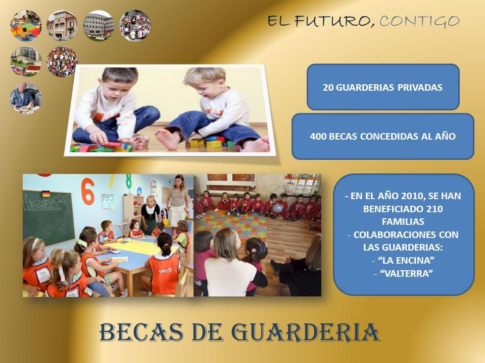 EL FUTURO, CONTIGO BECAS DE GUARDERIA 20 GUARDERIAS PRIVADAS 400 BECAS CONCEDIDAS AL AÑO - EN EL AÑO 2010, SE HAN BENEFICIADO 210 FAMILIAS - COLABORACIONES CON LAS GUARDERIAS: - LA ENCINA - VALTERRA