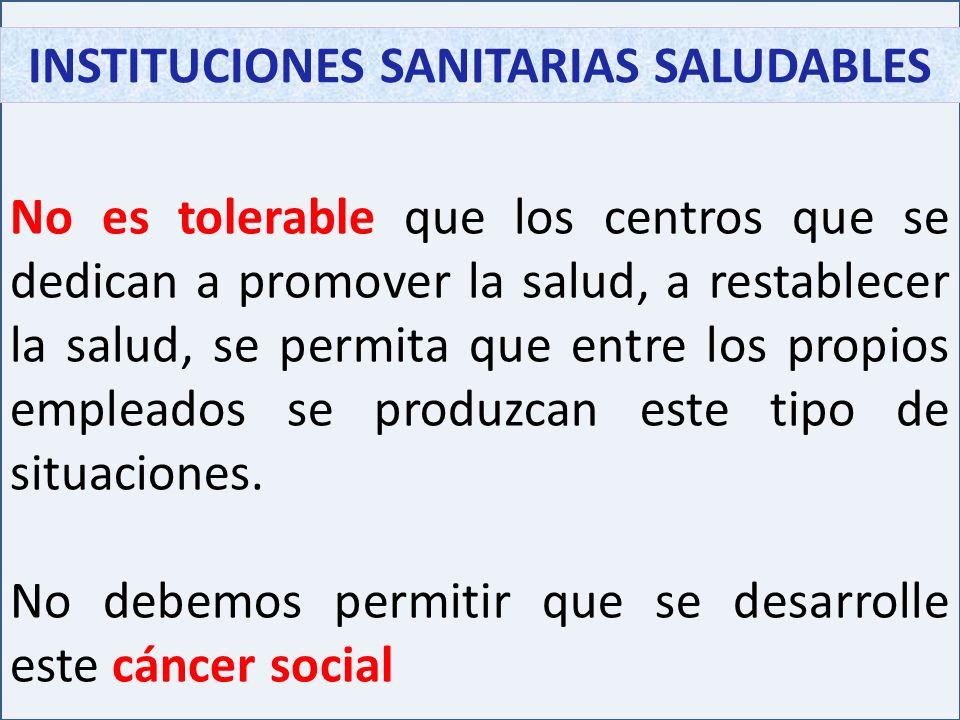 INSTITUCIONES SANITARIAS SALUDABLES No es tolerable que los centros que se dedican a promover la salud, a restablecer la salud, se permita que entre l