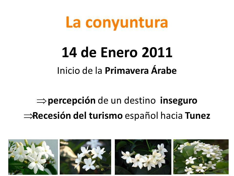 La conyuntura 14 de Enero 2011 Inicio de la Primavera Árabe percepción de un destino inseguro Recesión del turismo español hacia Tunez
