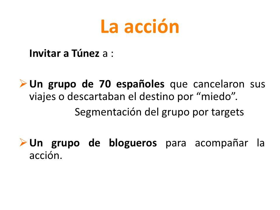 La acción Invitar a Túnez a : Un grupo de 70 españoles que cancelaron sus viajes o descartaban el destino por miedo.