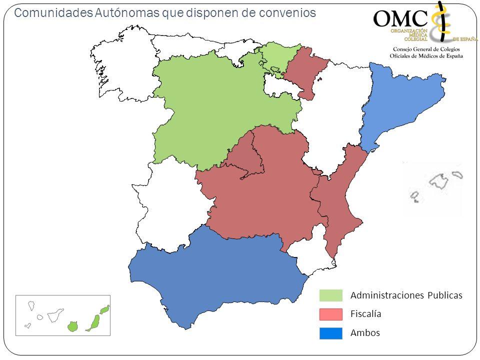 Administraciones Publicas Ambos Fiscalía Comunidades Autónomas que disponen de convenios