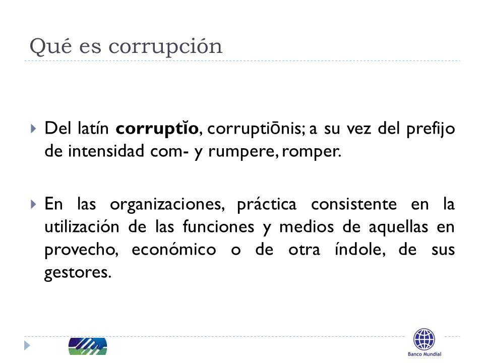 Qué es corrupción Del latín corrupt ĭ o, corrupti ō nis; a su vez del prefijo de intensidad com- y rumpere, romper.
