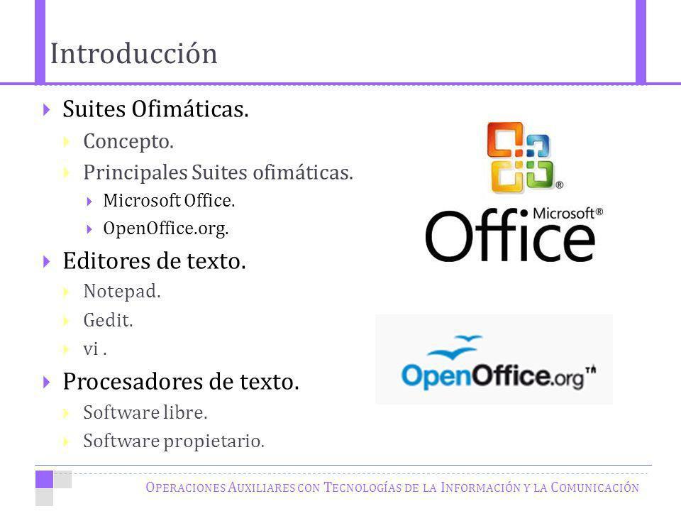 Introducción O PERACIONES A UXILIARES CON T ECNOLOGÍAS DE LA I NFORMACIÓN Y LA C OMUNICACIÓN Suites Ofimáticas.