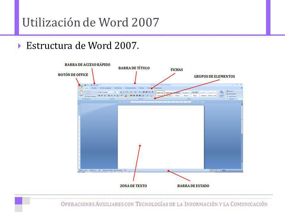 O PERACIONES A UXILIARES CON T ECNOLOGÍAS DE LA I NFORMACIÓN Y LA C OMUNICACIÓN Estructura de Word 2007. Utilización de Word 2007