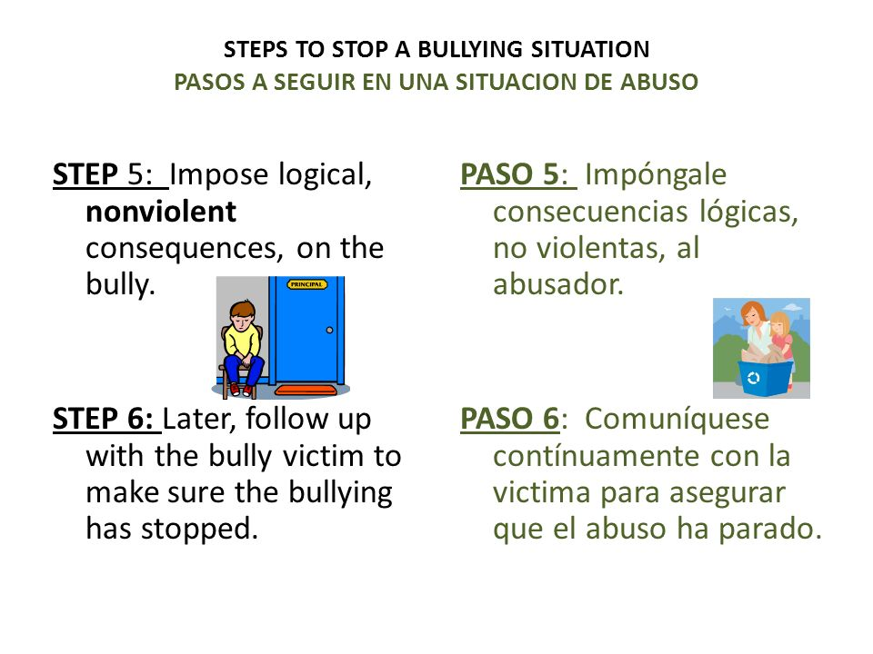 PASO 5: Impóngale consecuencias lógicas, no violentas, al abusador.