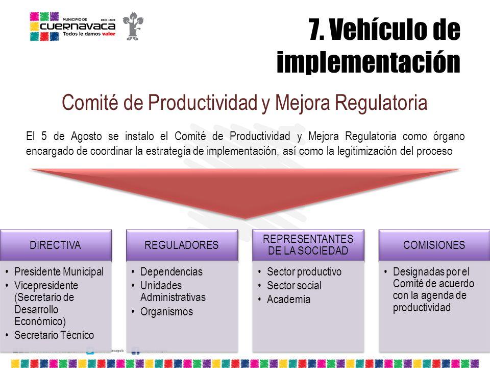7. Vehículo de implementación Comité de Productividad y Mejora Regulatoria El 5 de Agosto se instalo el Comité de Productividad y Mejora Regulatoria c