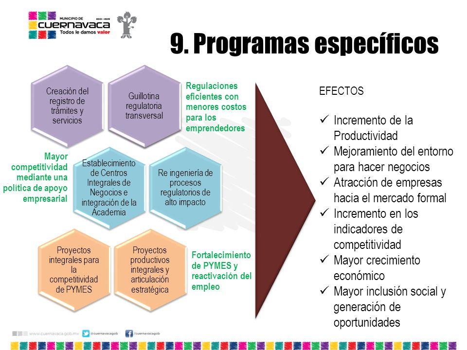 9. Programas específicos Creación del registro de trámites y servicios Guillotina regulatoria transversal Regulaciones eficientes con menores costos p