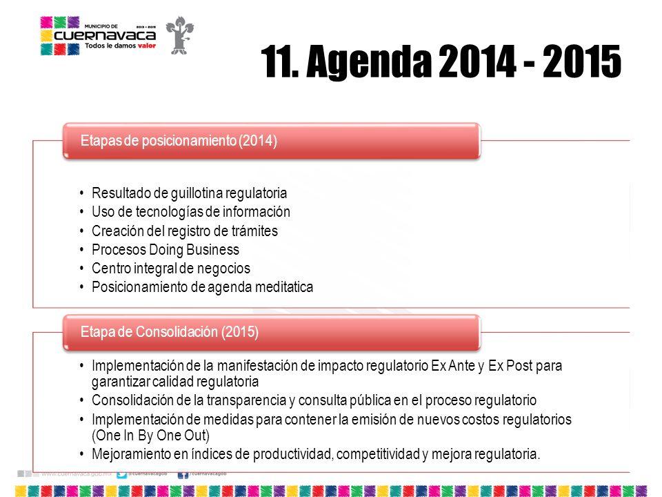 11. Agenda 2014 - 2015 Resultado de guillotina regulatoria Uso de tecnologías de información Creación del registro de trámites Procesos Doing Business