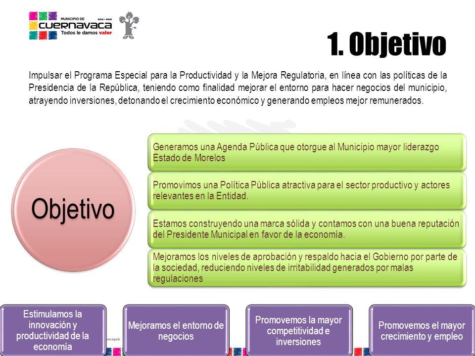 1. Objetivo Impulsar el Programa Especial para la Productividad y la Mejora Regulatoria, en línea con las políticas de la Presidencia de la República,