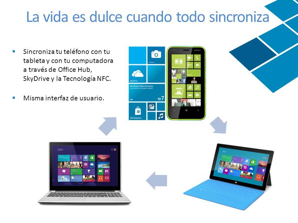 Sincroniza tu teléfono con tu tableta y con tu computadora a través de Office Hub, SkyDrive y la Tecnología NFC.