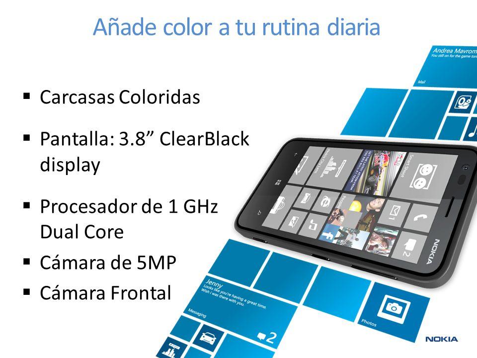 Carcasas Coloridas Pantalla: 3.8 ClearBlack display Procesador de 1 GHz Dual Core Cámara de 5MP Cámara Frontal Añade color a tu rutina diaria