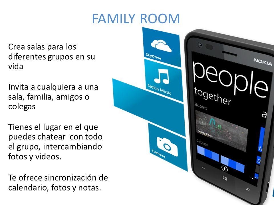 FAMILY ROOM Crea salas para los diferentes grupos en su vida Invita a cualquiera a una sala, familia, amigos o colegas Tienes el lugar en el que puedes chatear con todo el grupo, intercambiando fotos y videos.