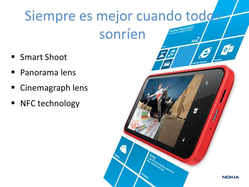 Smart Shoot Panorama lens Cinemagraph lens NFC technology Siempre es mejor cuando todos sonríen