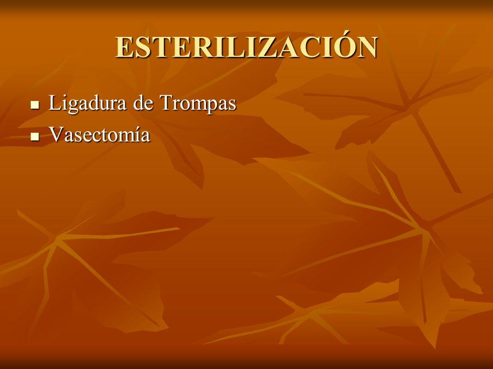 ESTERILIZACIÓN Ligadura de Trompas Ligadura de Trompas Vasectomía Vasectomía