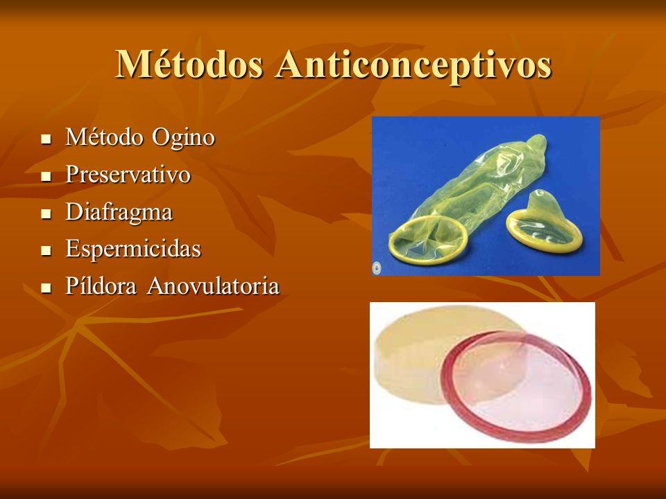 Métodos Anticonceptivos Método Ogino Método Ogino Preservativo Preservativo Diafragma Diafragma Espermicidas Espermicidas Píldora Anovulatoria Píldora