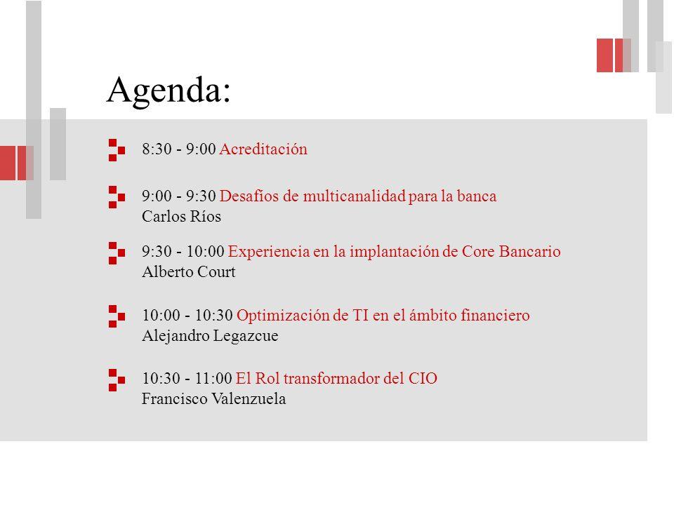 Carlos Ríos Más de 30 años de experiencia en la industria de TI Desafíos de multicanalidad para la banca Gerente de Desarrollo y Tecnología Gerente Corporativo de Sistemas de la División Retail Financiero