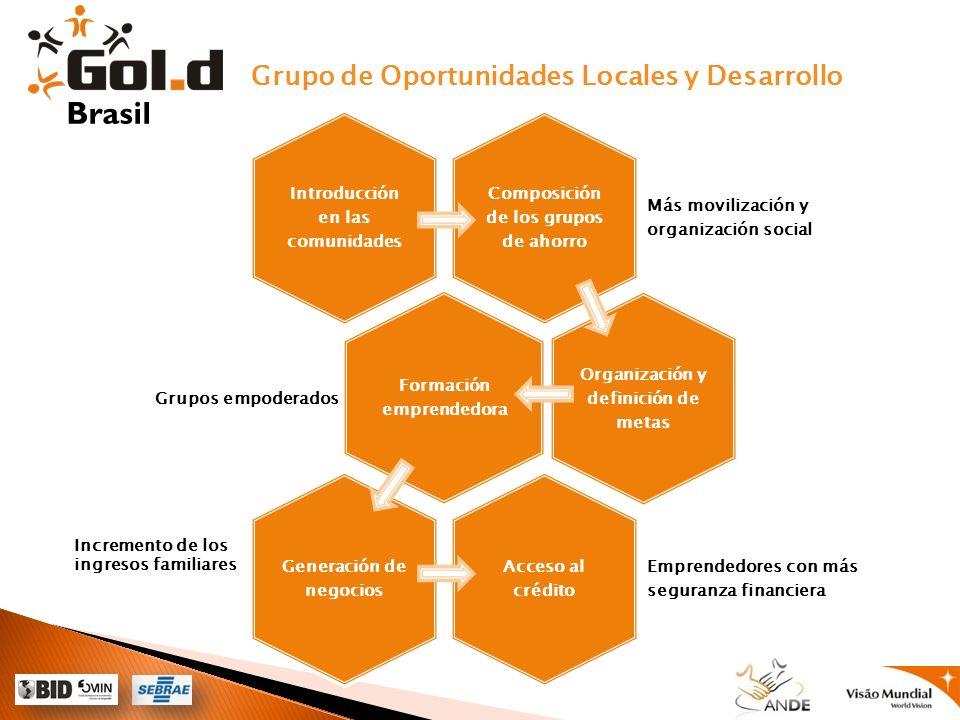 Grupo de Oportunidades Locales y Desarrollo Brasil Composición de los grupos de ahorro Más movilización y organización social Introducción en las comu