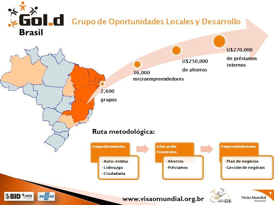 Grupo de Oportunidades Locales y Desarrollo 2,600 grupos 36,000 microempreendedores U$250,000 de ahorros U$270,000 de préstamos internos Empoderamient