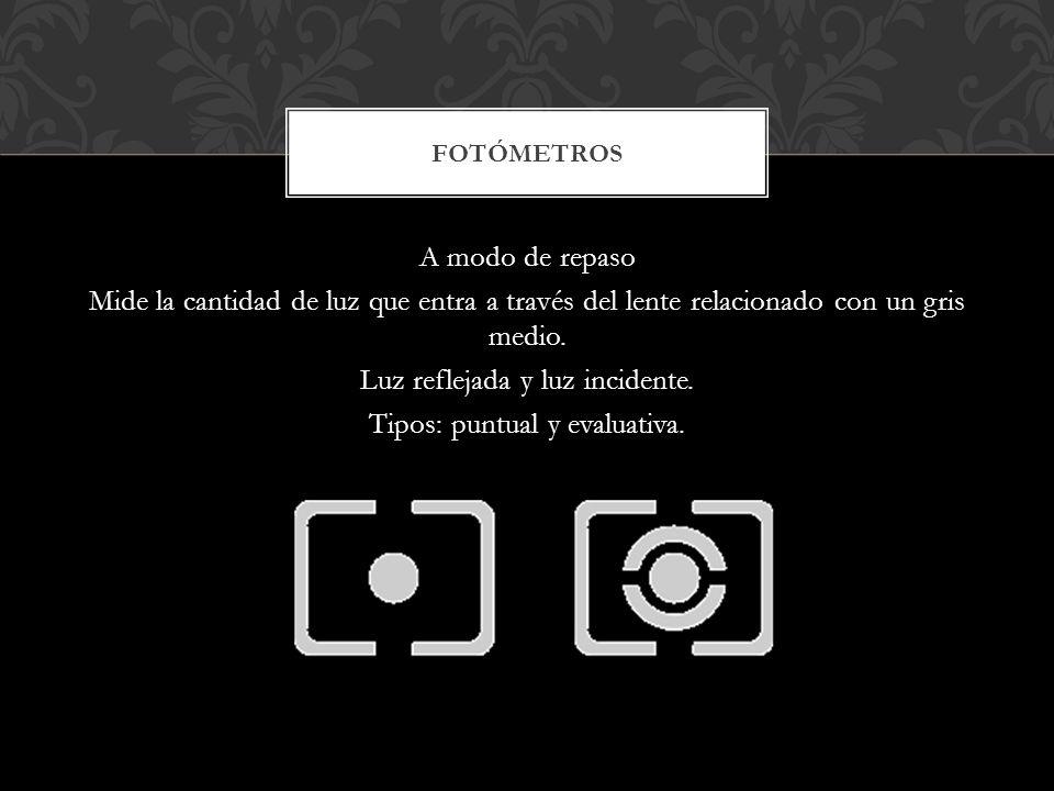 A modo de repaso Mide la cantidad de luz que entra a través del lente relacionado con un gris medio. Luz reflejada y luz incidente. Tipos: puntual y e