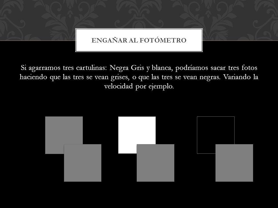Si agarramos tres cartulinas: Negra Gris y blanca, podríamos sacar tres fotos haciendo que las tres se vean grises, o que las tres se vean negras. Var