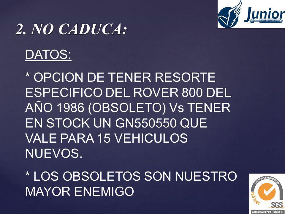 2. NO CADUCA: DATOS: * OPCION DE TENER RESORTE ESPECIFICO DEL ROVER 800 DEL AÑO 1986 (OBSOLETO) Vs TENER EN STOCK UN GN550550 QUE VALE PARA 15 VEHICUL