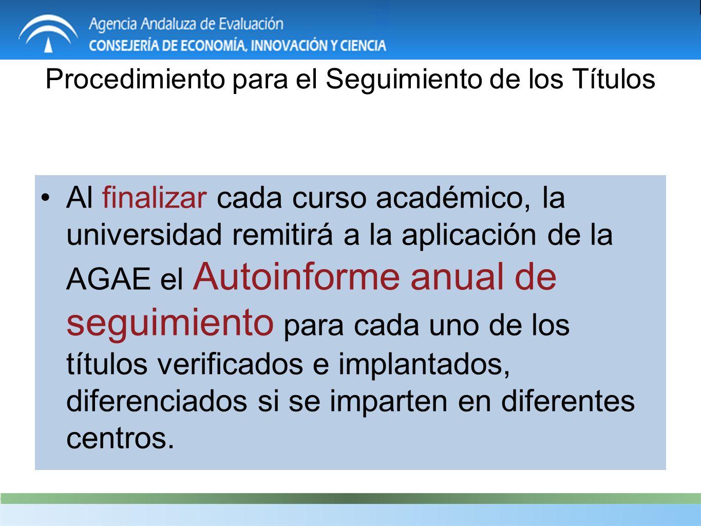 Procedimiento para el Seguimiento de los Títulos Al finalizar cada curso académico, la universidad remitirá a la aplicación de la AGAE el Autoinforme anual de seguimiento para cada uno de los títulos verificados e implantados, diferenciados si se imparten en diferentes centros.