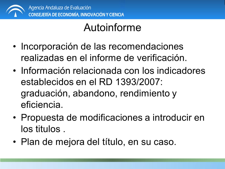 Autoinforme Incorporación de las recomendaciones realizadas en el informe de verificación.