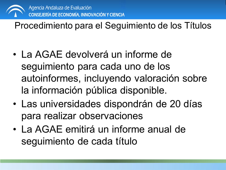 La AGAE devolverá un informe de seguimiento para cada uno de los autoinformes, incluyendo valoración sobre la información pública disponible.