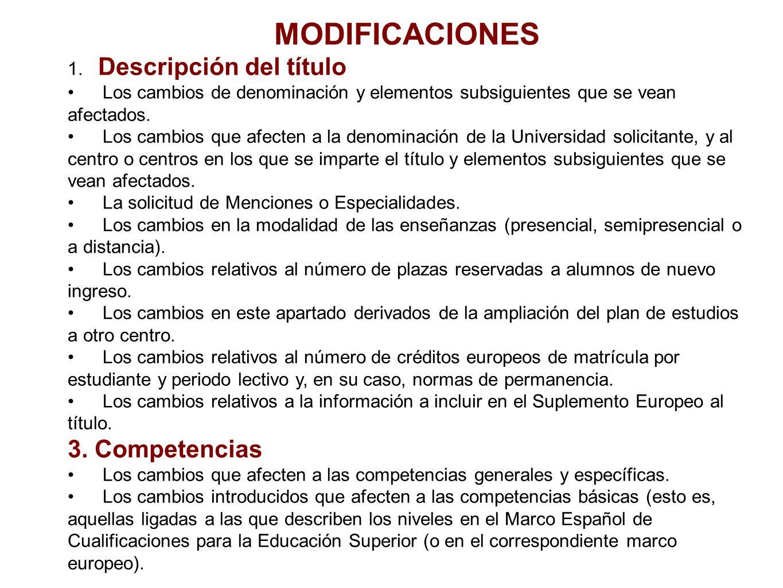MODIFICACIONES 1. Descripción del título Los cambios de denominación y elementos subsiguientes que se vean afectados. Los cambios que afecten a la den