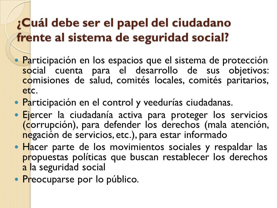 ¿Cuál debe ser el papel del ciudadano frente al sistema de seguridad social? ¿Cuál debe ser el papel del ciudadano frente al sistema de seguridad soci
