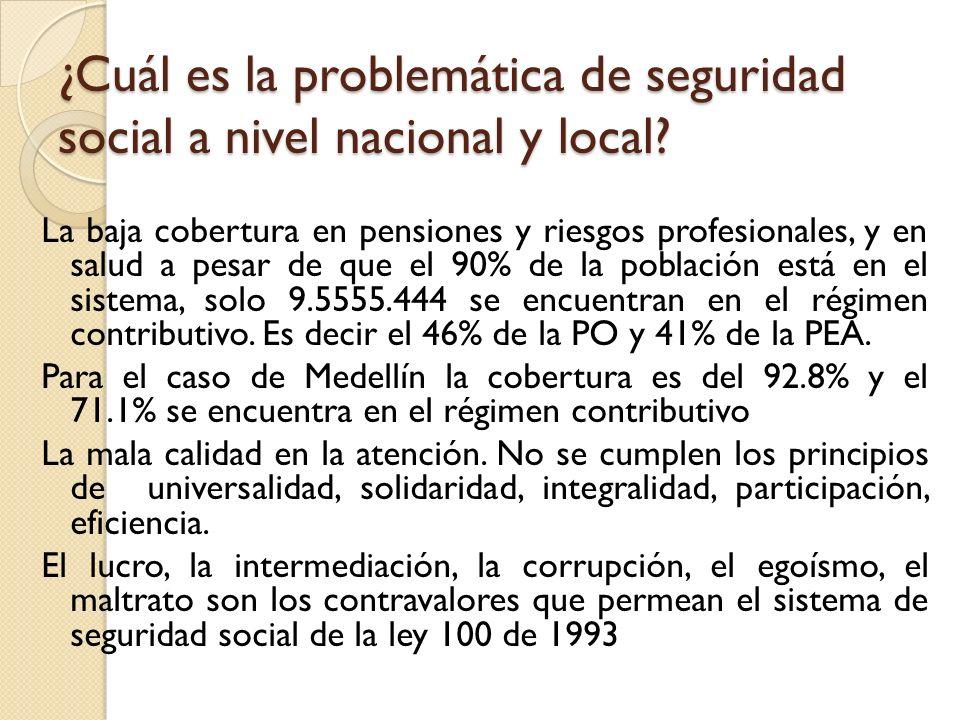 ¿Cuál es la problemática de seguridad social a nivel nacional y local? La baja cobertura en pensiones y riesgos profesionales, y en salud a pesar de q
