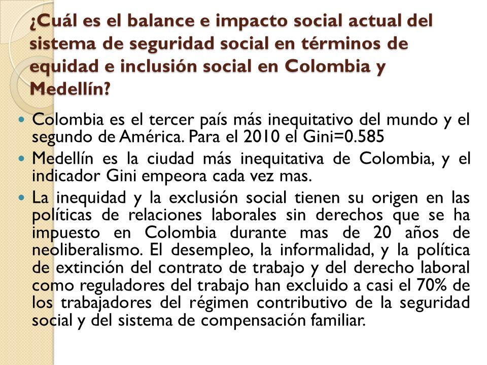 ¿Cuál es el balance e impacto social actual del sistema de seguridad social en términos de equidad e inclusión social en Colombia y Medellín? Colombia